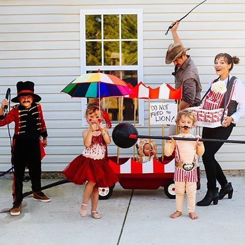 We figured out a way to feed into our kids' alter egos. Family Circus: Lion tamer, lion, ring master, tight rope walker, strong man, popcorn vendor, and my mini popcorn bundle. Next year we are going as ourselves Happy Halloween!  (V's costume is from @tutudumonde)