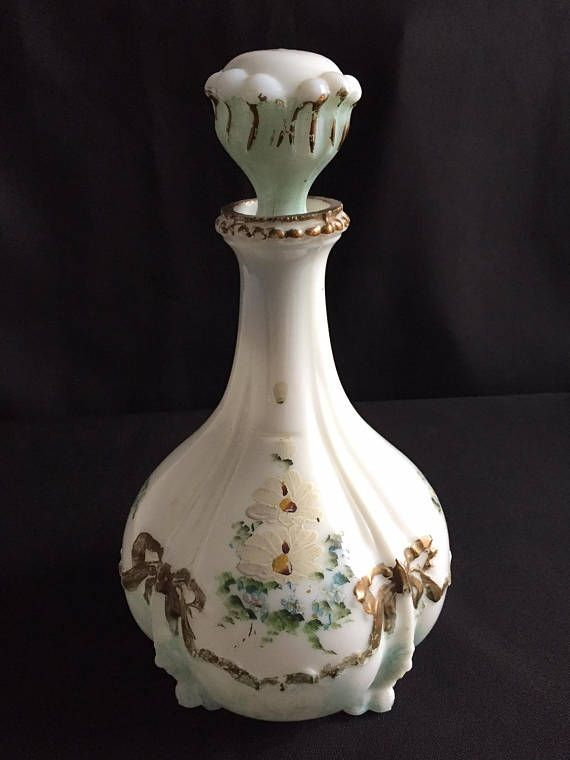 Victorian Milk Glass Toilet Water or Cologne Bottle