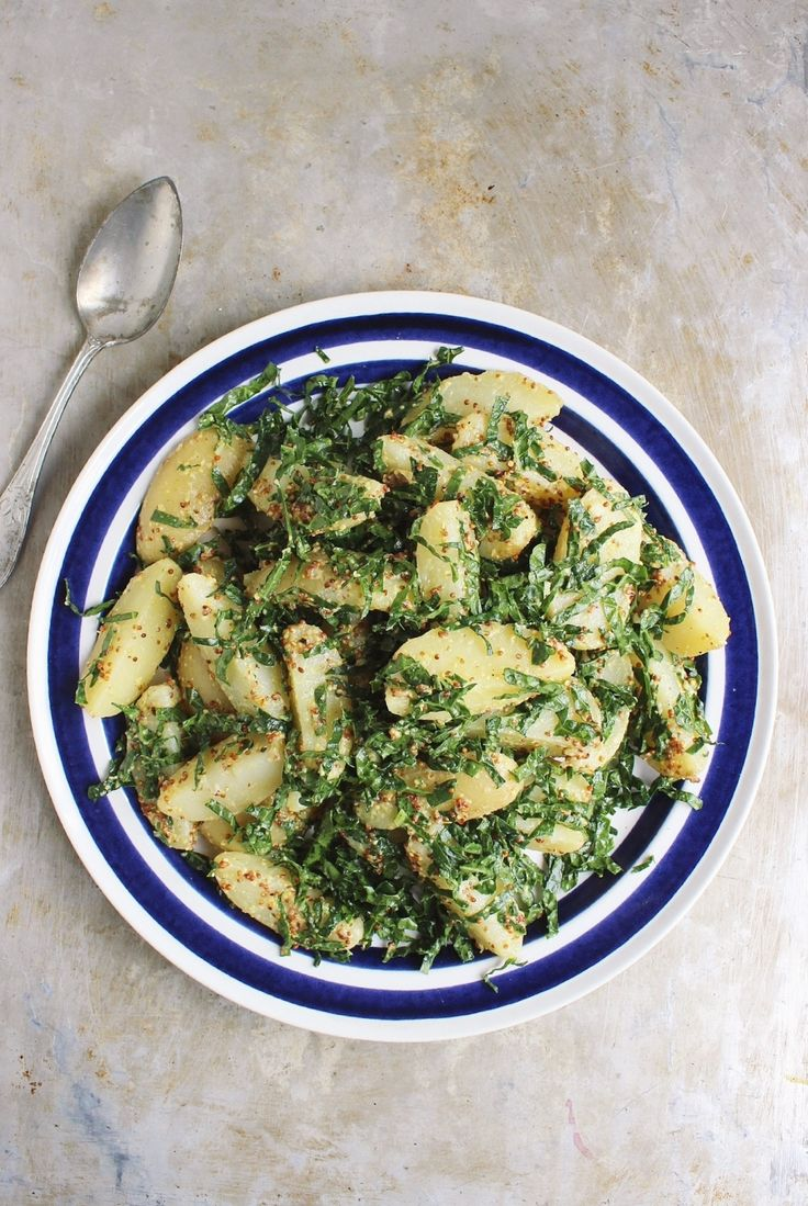 Potato Salad with Massaged Kale + Grainy Mustard | @withfoodandlove