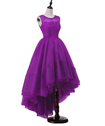 3d9d5bf989 Meilishuo Womens Crew Beaded Prom Dress High Low Tulle Homecoming Dress  Lace Evening Dress