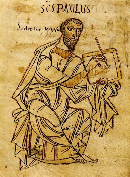 Der Apostel Paulus beim Schreiben. Aus einer Handschrift der Paulusbriefe, frühes 9. Jahrhundert. Württembergische Landesbibliothek Stuttgar...