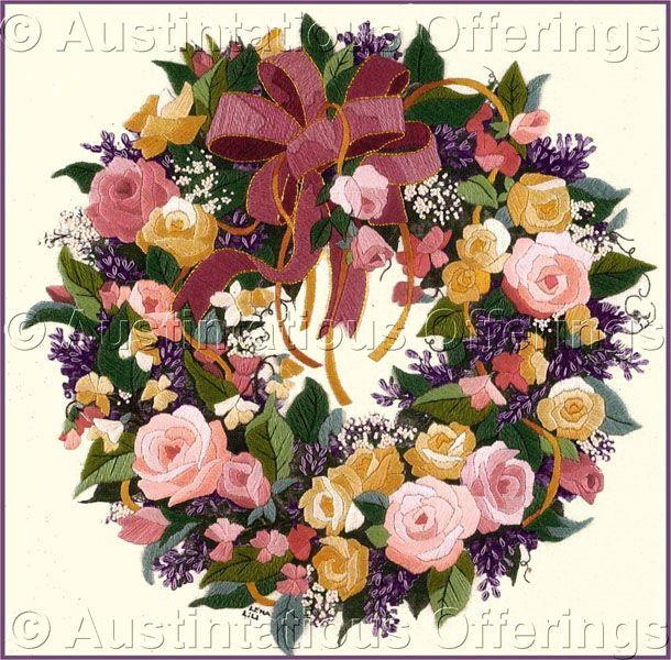 Rare Lena Liu Classical Rose Wreath Floral Crewel Embroidery Kit