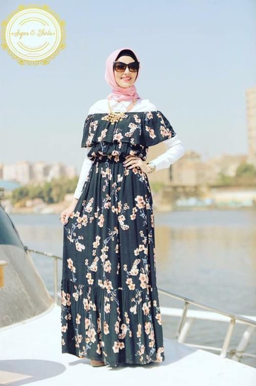Off the shoulder dress-Girly and colorful spring hijab outfits – Just Trendy Girls