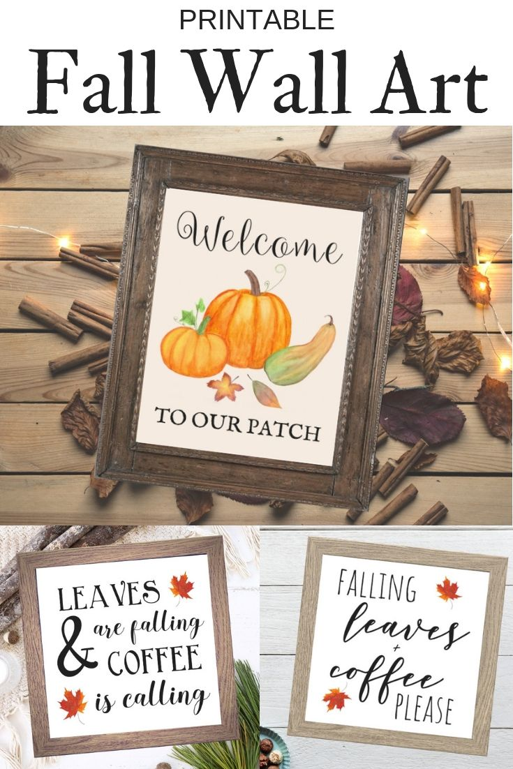 Fall Home Decor Printable Fall Wall Art Fall Signs Welcome To Our Patch Sign Leaves Are Falling Coffee Is Call Fall Wall Art Autumn Coffee Coffee Bar Signs