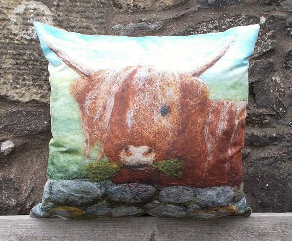 Highland Cow Cushion Decorative Throw Pillow