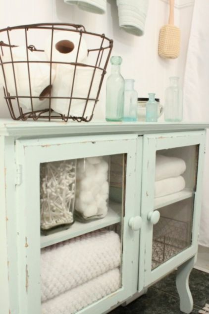 Vintage bathroom cabinet: Ideas, Shabby Chic, Colors, Bathroom Storage, Toilets Paper, House, Wire Baskets, Bathroom Decor, Bathroom Cabinets