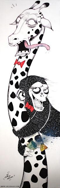 Tableau numéro 1 made in London  Un singe ivre se jette sur une girafe. A méditer :/  Join my page on www.facebook.com/lelionart and follow me on https://twitter.com/#!/LeLionArt