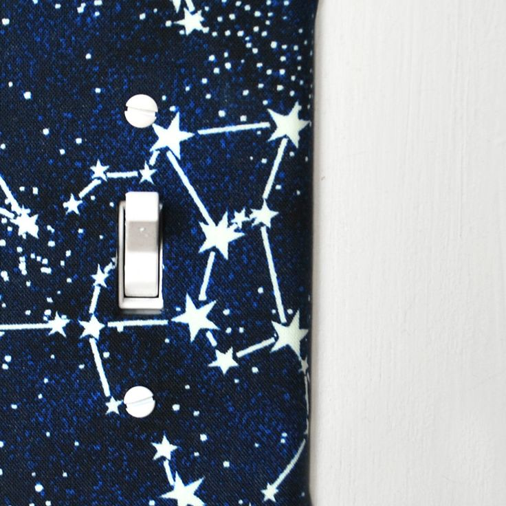 Light Switch Plate Cover - navy blue with white stars / constellations by maisonwares on Etsy https://www.etsy.com/listing/196942138/light-switch-plate-cover-navy-blue-with