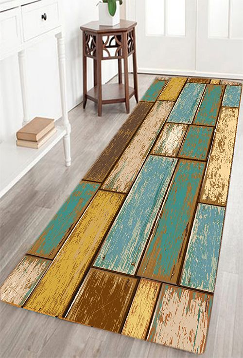 vintage wood floor pattern water absorption area rug - Affordable Home Decor