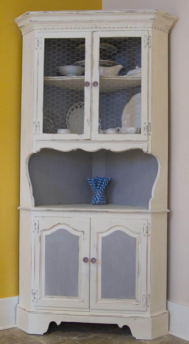 Black And White And Loved All Over: Stuff I Made: Distressed, Chalkpainted Corner Hutch.