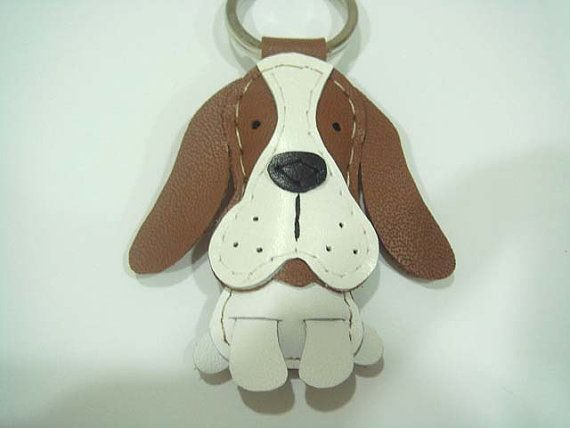 Josie the Basset Hound leather keychain  Brown  by leatherprince, $20.90