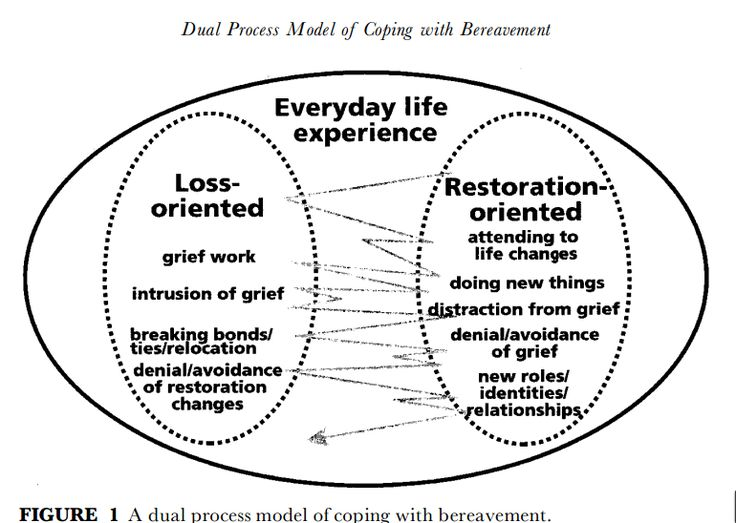 "#Grief Theory 101: The Dual Process Model of Grief < ""direct response to... limitations... in existing grief theory... argues that to ""avoid, deny, or suppress"" certain aspects of grief is not only normal, but a healthy and important part of grieving..."""