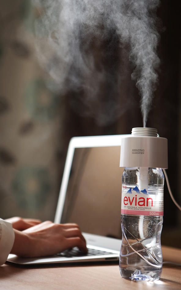 A $34 Cap That Turns Any Water Bottle Into A Humidifier ... That's pretty nifty! Breathing problems in winter, begone! Without having to disinfect a giant humidifier every night!