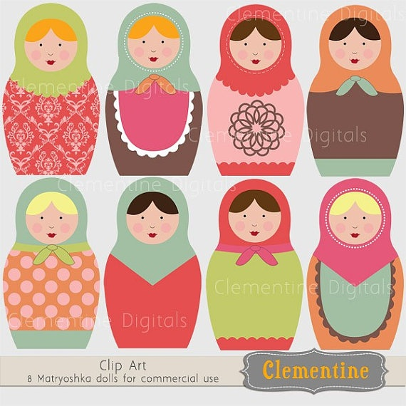 Russian Dolls Images Matryoshka Royalty Free Clip Art Commercial Use Instant Download