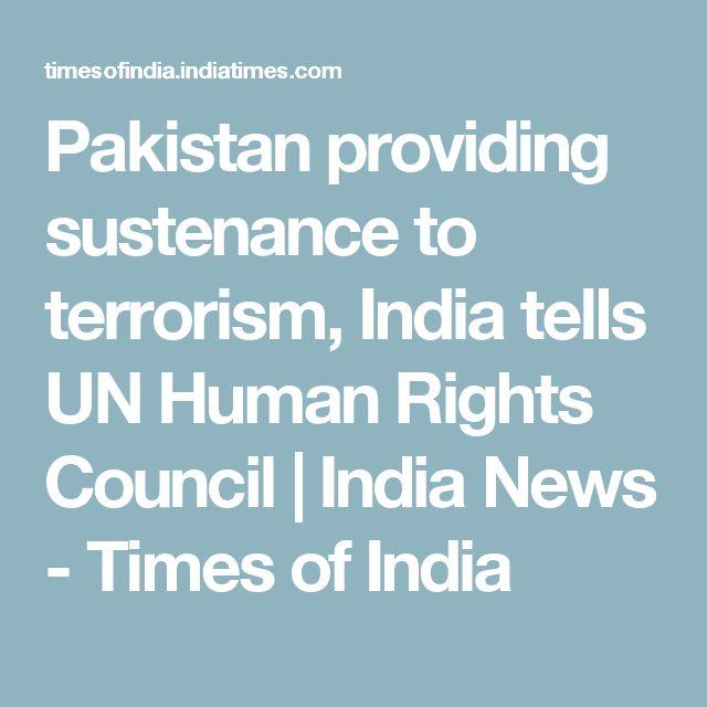 Pakistan providing sustenance to terrorism, India tells UN Human Rights Council | India News - Times of India