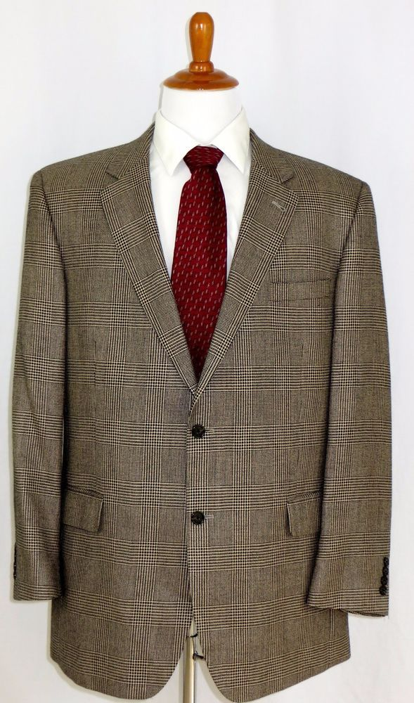 Silk Camel Blend Houndstooth Plaid Sport Coat Jacket Blazer Jos A Bank 46L #JosABank #TwoButton