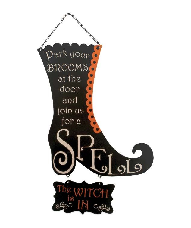 Park your Brooms at the door and join us for a spell, the witch is in. Hang Witch is In or Out Boot Sign on a door or wall. Black and orange tall witches boot Halloween message sign greets friends at