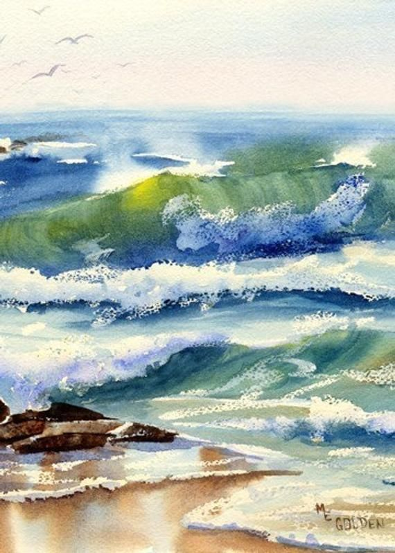 Seaspray Print Wave Watercolor Wave Print Beach Decor Beach
