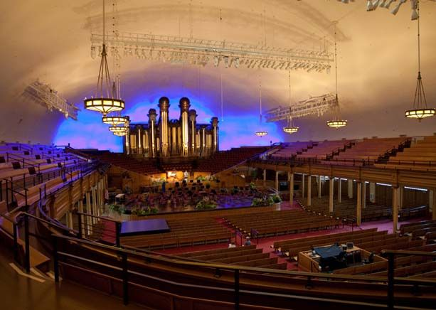 The Salt Lake City Tabernacle on Temple Square in Salt Lake City, UT is the home of the world famous Mormon Tabernacle Choir. The dome shaped auditorium is so acoustically sensitive, that a pin dropped at the pulpit can be clearly heard at the back of the hall, 170 feet away. Here, one of the world's great musical instruments, a magnificent pipe organ with 11,623 pipes is housed - #LDS #Mormonism #Travel