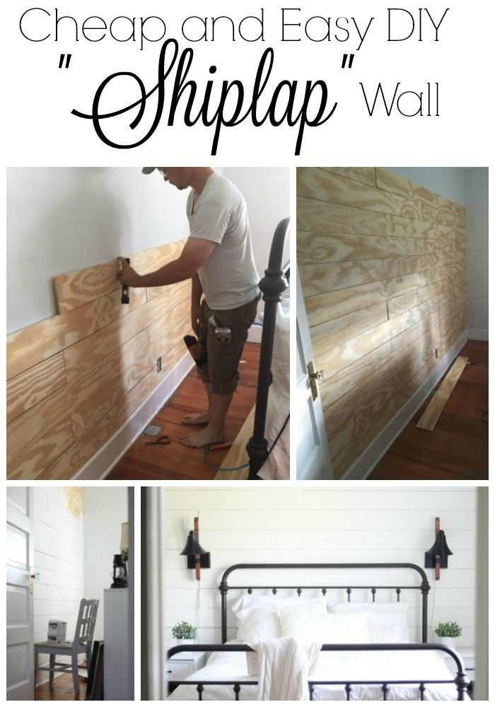 "Shiplap!  Oh the things husbands do for us!  Can I just say I am so happy we did this?  It makes the wall behind our bed  a focal point and the project was actually easier than expected!  To do the shiplap wall, I bought four sheets of 4'X8' sanded plywood at  11/32"" thickness.  I had Lowes cut it in 6"" strips.  At $.25 per cut it was  worth every penny.  The total cost for the project was under $100 for a  160""by 90"" wall.  My husband started at the baseboard and used one full 8' board and…"