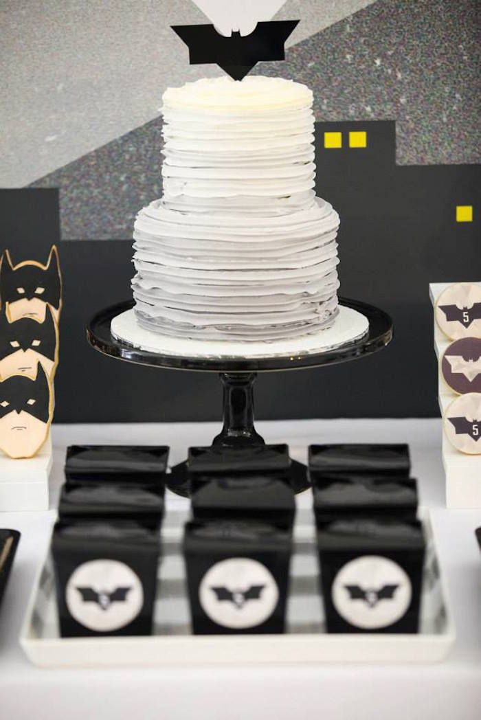Amazing batman cake! Modern Batman Birthday Party via Kara's Party Ideas | by Sugar Coated Mama! Batman desserts, printables, recipes, and more! KarasPartyIdeas.com