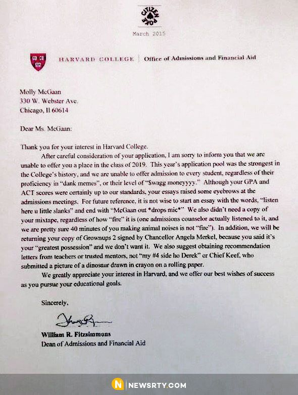 Funniest Harvard University Rejection Letter In History William R - college acceptance letters