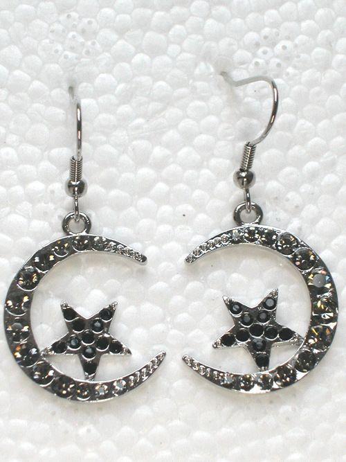 12 pair/lot черный кристалл горный хрусталь луна и звезды висячие серьги A186 H