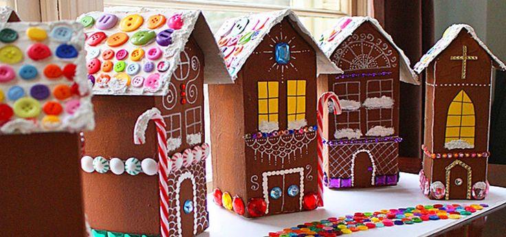 Пряничные домики из картонных молочных пакетов. Мастер-класс для детей и родителей