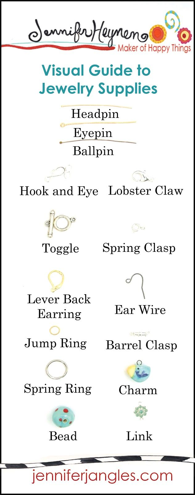 Jennifer+Heynen+Visual+Guide+to+Jewelry+Making+Supplies+Printable.jpg 632×1,600 pixels