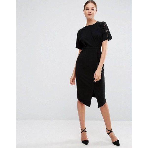 ASOS Wiggle Dress with Lace Insert (4.595 RUB) ❤ liked on Polyvore featuring dresses, black, lace panel dress, wiggle dress, round neck dress, stretch dress and zipper dress