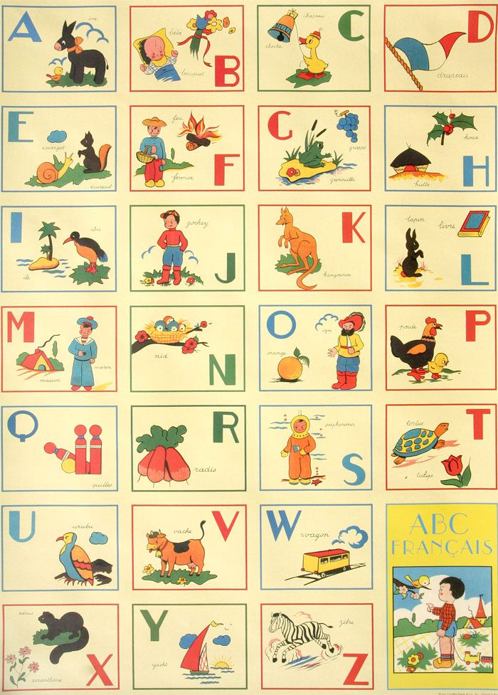 vintage abc flashcards printed on wrapping paper by cavallini & co.... en français