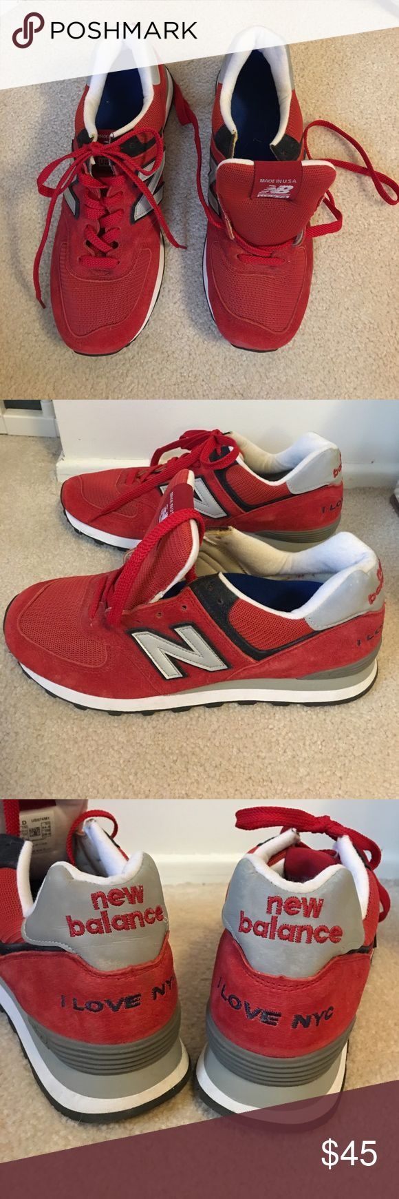 """Men's New Balance Sneakers NEW! Men's size 10 1/2 Men's Limited Edition """"I LOVE NYC"""" Sneakers. Red Suede. New Without Tags. Because they were bought before they were listed in the stores. New Balance Shoes Athletic Shoes"""