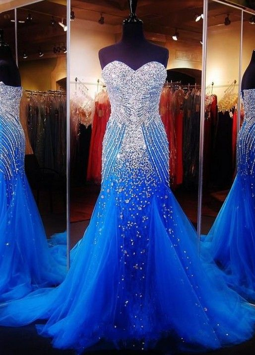 Royal Blue Crystals Mermaid Luxury Prom Dresses Sweetheart Neck Tulle Pageant Dresses