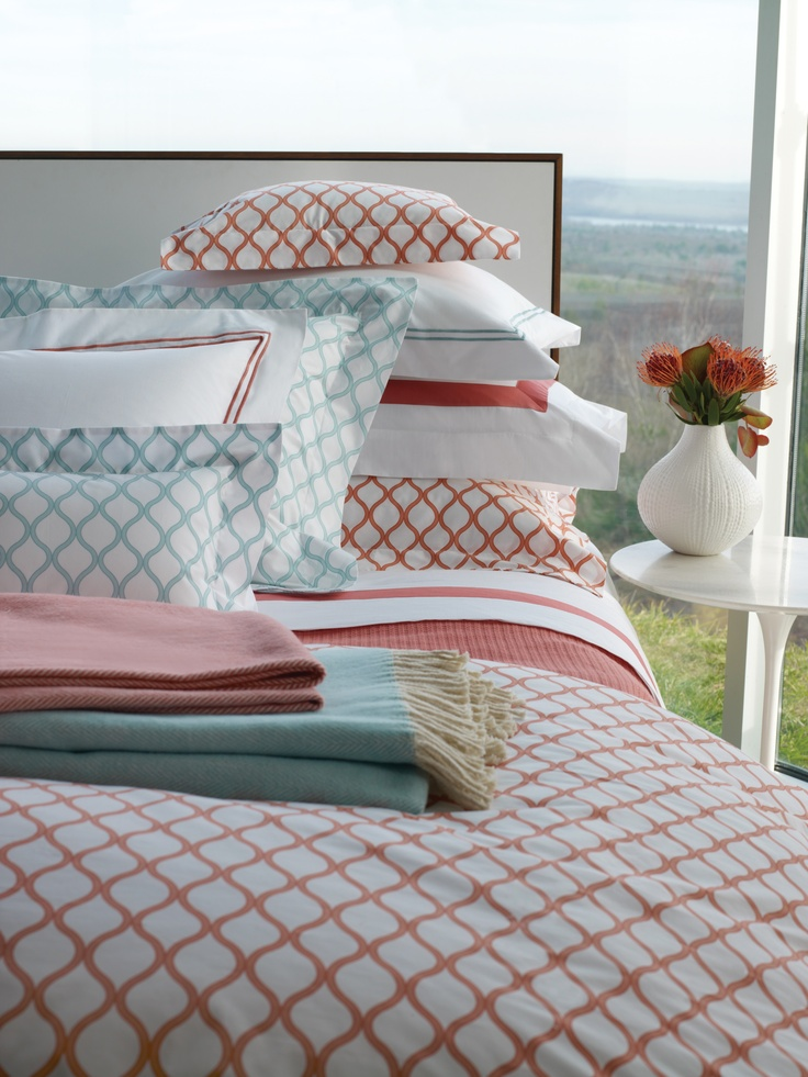 Andover in Salmon or Aqua--SFERRA's sleek smooth Italian-woven and printed bed linens.