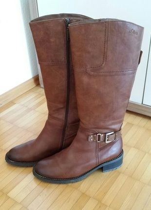 Kaufe diese stylischen Stiefel von S.Oliver  bei #Kleiderkreisel http://www.kleiderkreisel.de/damenschuhe/stiefel/123648314-soliver-stiefel-gr-375-reiterlook-leder-braun-cognac