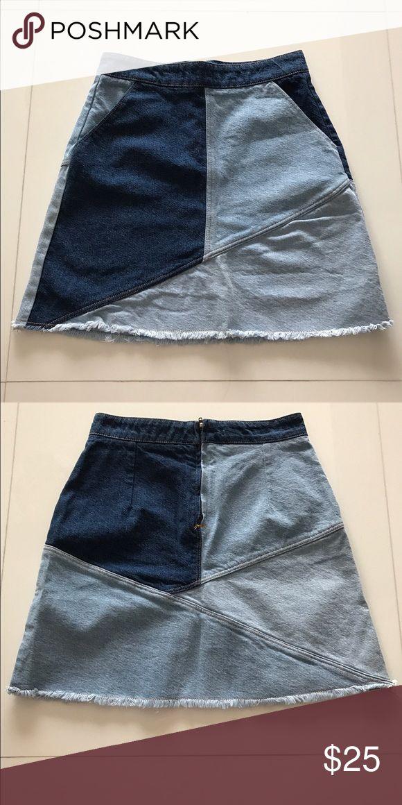 Zara denim skirt Denim patchwork high waisted skirt. Zara Skirts Mini