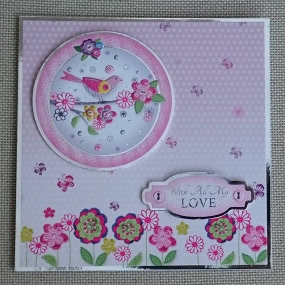 Handmade 6 x 6 Square Greeting Card  Love by BavsCrafts on Etsy