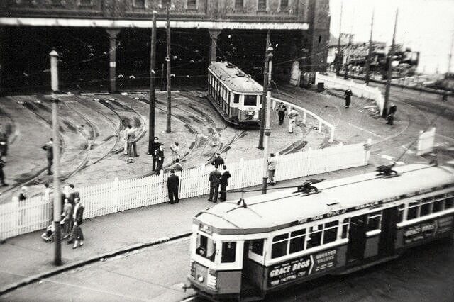 Fort Macquarie Tram Depot - now the site of the Sydney Opera House in 1957. •National Library of Australia•