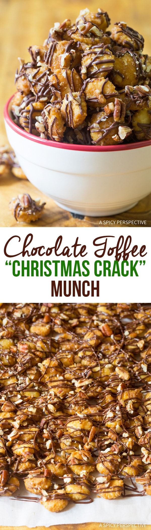 "Chocolate Toffee Christmas Crack Munch Recipe - A fabulous holiday edible gift! Have you tried ""christmas crack"" saltine cracker toffee? If so, you are going to go crazy over this snack mix version! via @spicyperspectiv"