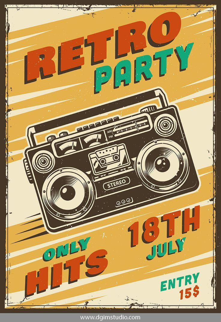 Vintage Music Retro Party Advertising Poster With Boombox Click To The Link To Find More Rock Roll Posters Vintage Poster Design Vintage Music Posters Poster Vintage Retro