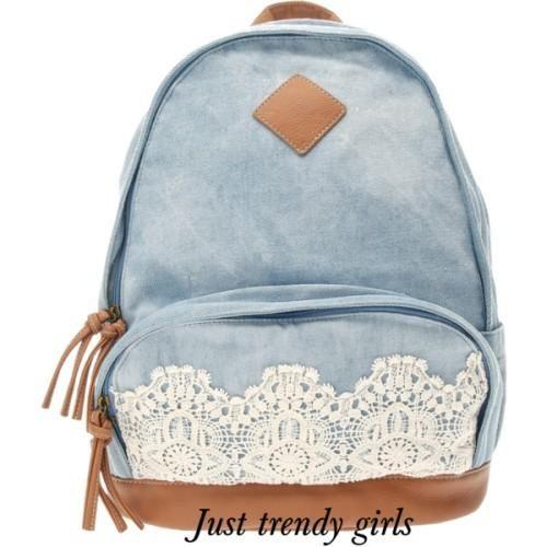 denim backpack with lace, Trendy backpacks for girls http://www.justtrendygirls.com/trendy-backpacks-for-girls/