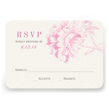 Elegant and romantic peony wedding RSVP card design. Fuchsia pink and pewter gray color scheme. Personalize the custom RSVP text with your reply due date. #wedding #elegant #template #design #rsvp #response #reply #peony #peonies #flowers