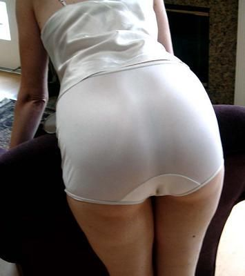 Wet white nylon full cut panty briefs