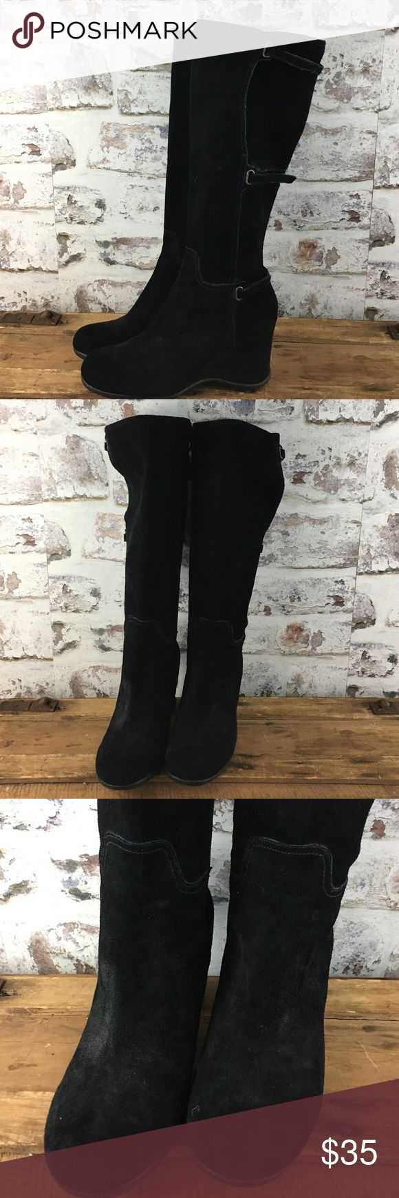"""Me Too tall suede wedge boots Black suede wedge boots with 3"""" wedges. Very nice! me too Shoes Heeled Boots"""