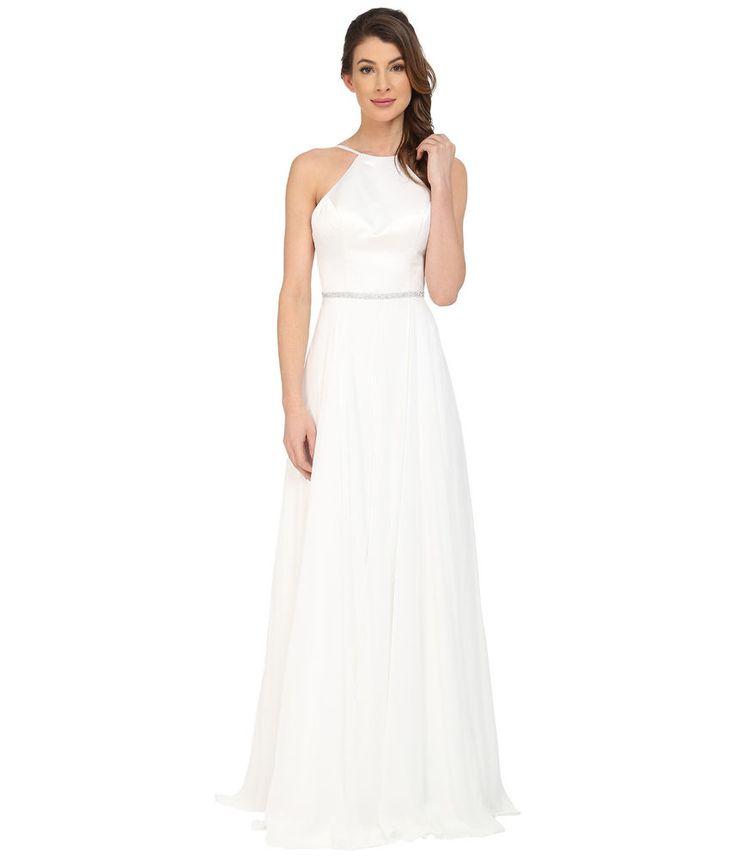 Faviana Satin Halter Gown Bridal Ivory Prom Dress Full Chiffon Skirt 7761 SIZE 6 #Faviana #HalterGownBridalPromSleeveless #BridaPromFormal