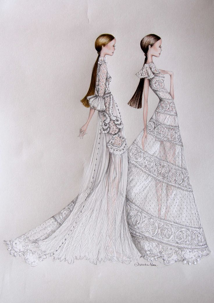 My love of illustrating Valentino Haute Couture - details, details, details!