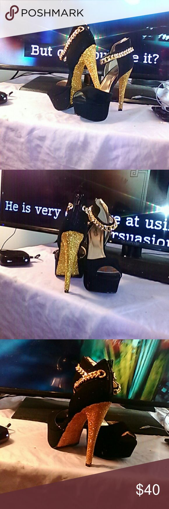 Suede and Gold Stiletto Heels Custom Made Suede and Gold Stiletto Heels Custom Made Shoes Platforms