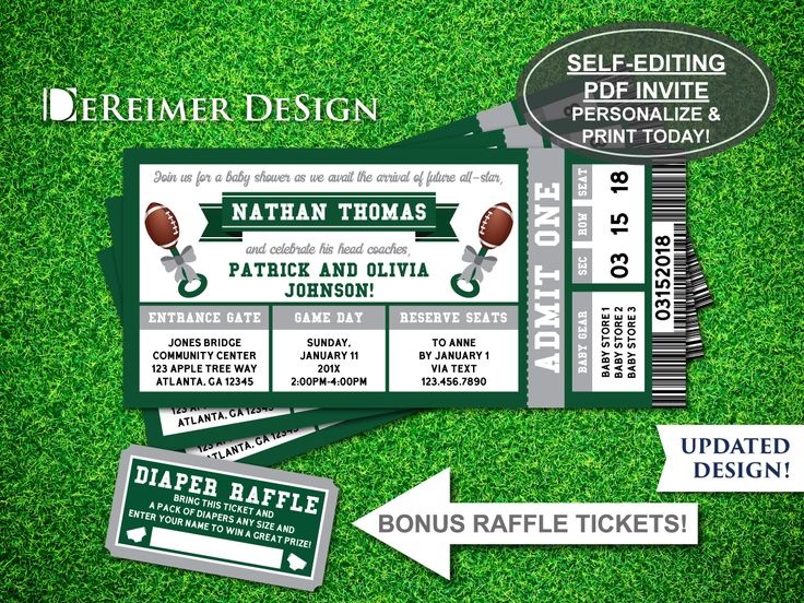 Sports Ticket Baby Boy Shower Invitation, Little All-Star Baby Shower, Football, Green, Self-Editing PDF Invite, BONUS Diaper Raffle Tickets