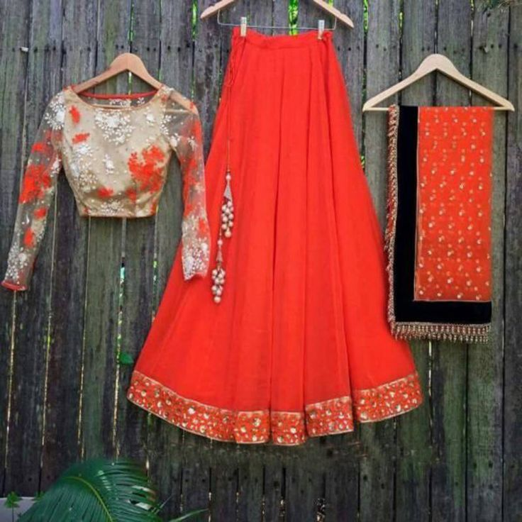 Designer Orange Lehenga Choli at Mirraw