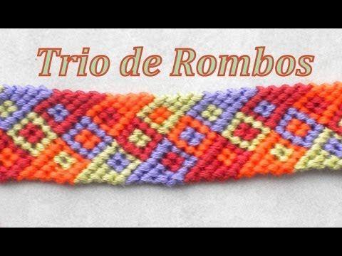 ▶ Pulsera de Hilo: Trio de Rombos - YouTube
